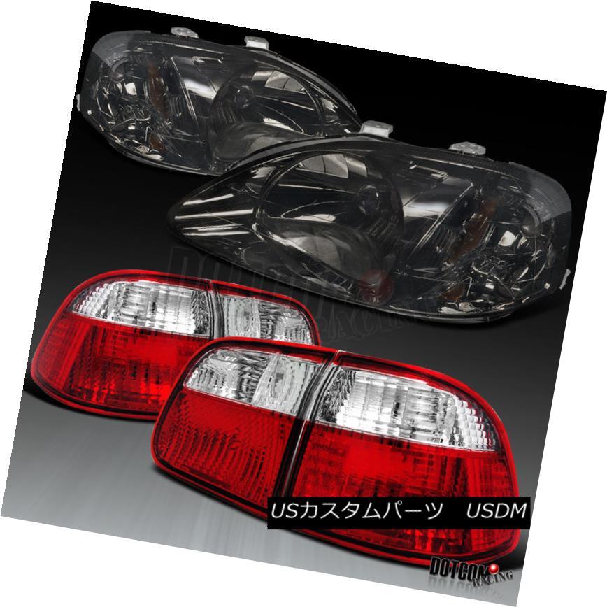 ヘッドライト Honda 99-00 Civic 4Dr Sedan JDM Smoke Headlight+Red/Clear Rear Tail Lamp ホンダ99-00シビック4DrセダンJDMスモークヘッドライト+レッド/ クリアリアテールランプ