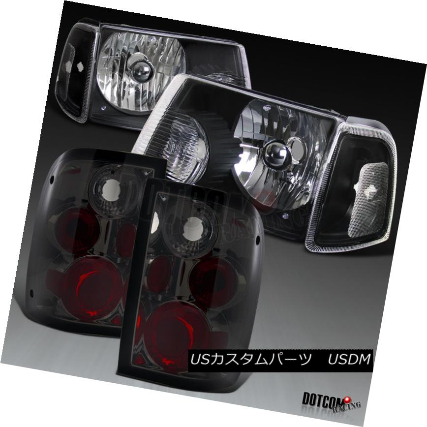 ヘッドライト 2001-2005 Ford Ranger Headlights+Corner Black Signal Lamps+Smoke Tail Lights 2001-2005フォードレンジャーヘッドライト+コルク nerブラックシグナルランプ+スモークテールライト