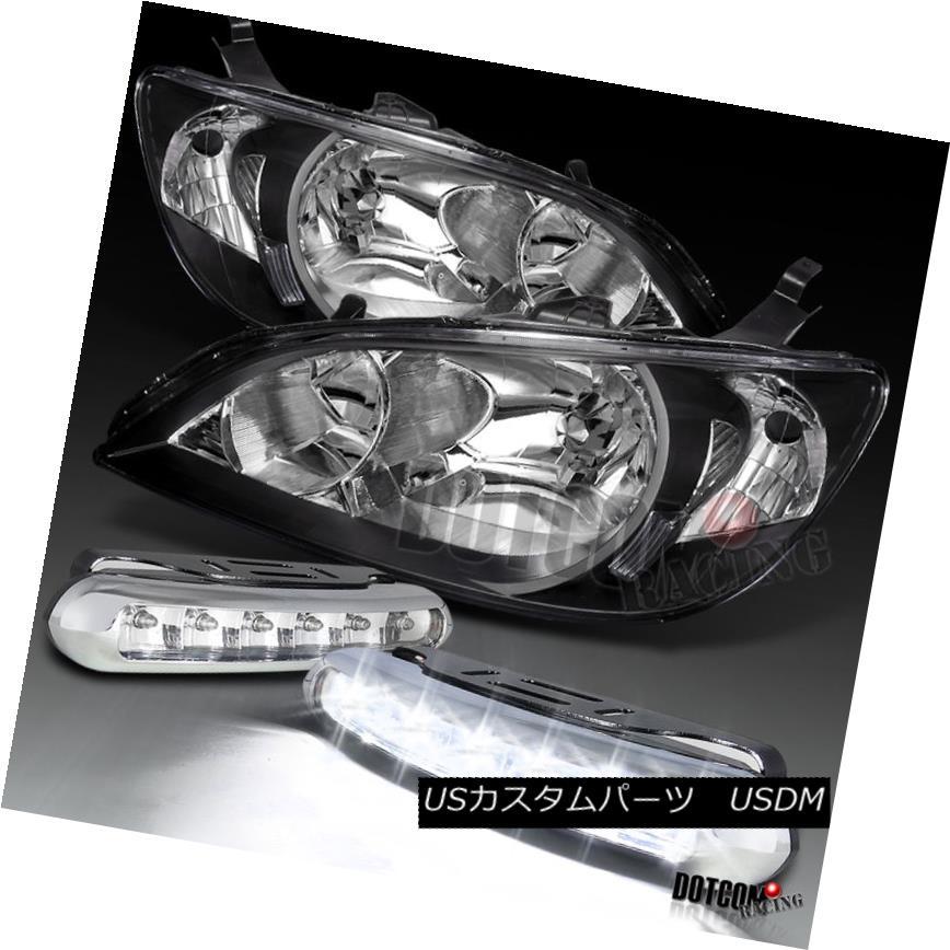 ヘッドライト Fit 2004-2005 Honda Civic JDM Black Diamond Headlights+White LED Bumper Fog DRL 2004-2005 Honda Civic JDMブラックダイヤモンドヘッドライト+ Whi テールLEDバンパーフォグDRL