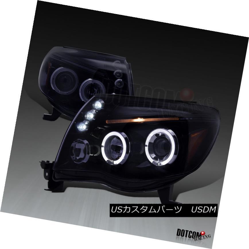 ヘッドライト 2005-2011 Toyota Tacoma Glossy Black Dual Halo LED Projector Headlights Smoke 2005-2011 Toyota Tacoma Glossy BlackデュアルハローLEDプロジェクターヘッドライトスモーク