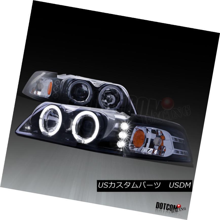 ヘッドライト 1999-2004 Ford Mustang LED Halo Rim Glossy Black Projector Headlights Left+Right 1999-2004 Ford Mustang LED Halo Rim GlossyブラックプロジェクターヘッドライトLeft + Right
