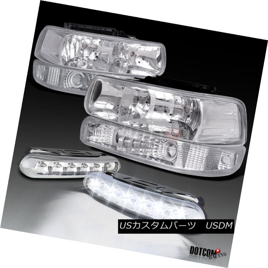 ヘッドライト Chrome 99-02 Silverado 1500 Headlights+Bumper Lamps+White 6-LED DRL Fog Lamps Chrome 99-02 Silverado 1500ヘッドライト+バーン 、ランプごとに+ホワイト6-LED DRLフォグランプ