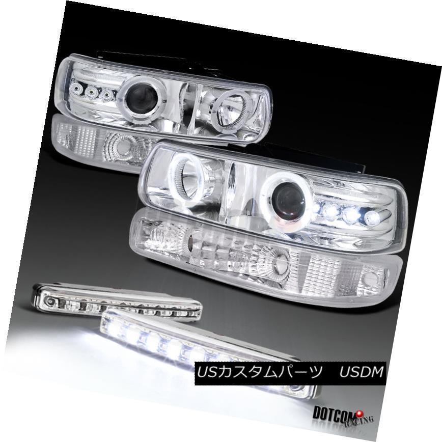 ヘッドライト Chrome Silverado 1500 Halo Projector Headlights+Bumper Lamps+8-LED Fog Lights Chrome Silverado 1500 Haloプロジェクターヘッドライト+ Bum 、ランプ+ 8-LEDフォグライト