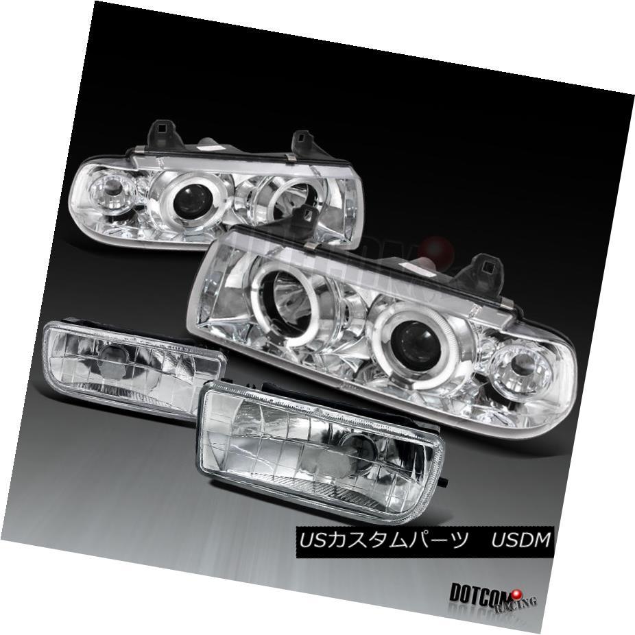 ヘッドライト 1992-1998 BMW E36 2Dr 4Dr 325 328 Projector Halo Head Lights+Fog Lamp 1992-1998 BMW E36 2Dr 4Dr 325 328プロジェクターHaloヘッドライト+フォグランプ