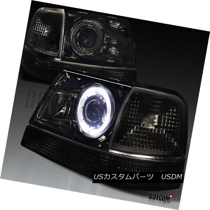 ヘッドライト Ford 98-00 Ranger Halo Projector Smoke Headlights+Turn Signal Corner Lamps Pair フォード98-00レンジャーハロープロジェクタースモークヘッドライト+ Tur  n信号コーナーランプペア