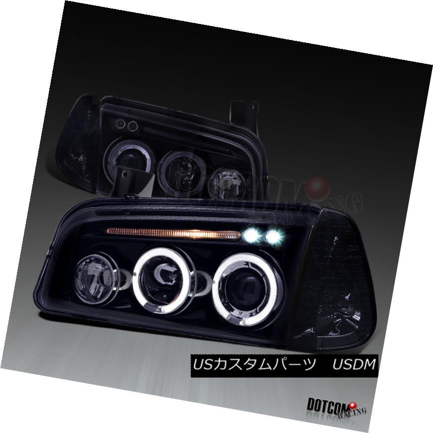 ヘッドライト Glossy Black 2006-2010 Dodge Charger LED Halo Projector Headlights Corner Lamps 光沢ブラック2006-2010ダッジチャージャーLEDハロープロジェクターヘッドライトコーナーランプ