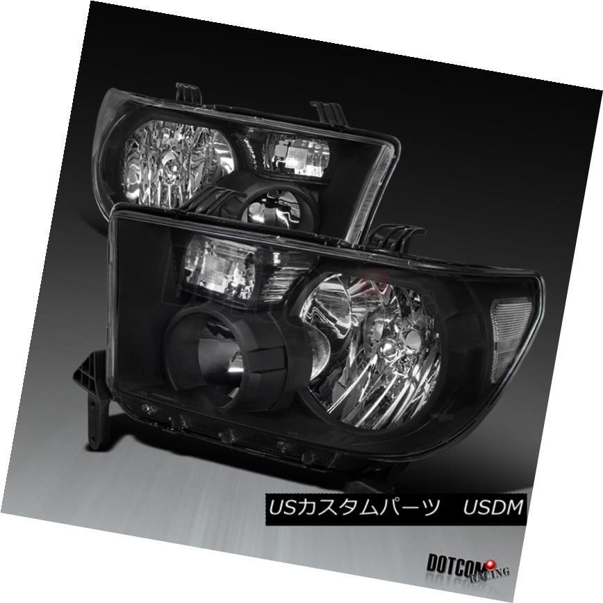 ヘッドライト Toyota 2007-2013 Tundra 2008-2014 Sequoia Black Clear Diamond Headlights Pair トヨタ2007-2013トンドラ2008-2014セコイアブラッククリアダイヤモンドヘッドライトペア
