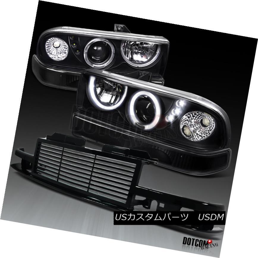 ヘッドライト 1998-2004 Chevy S10 Blazer Black Projector Headlights+Bumper Lamp+Grill 1998-2004 Chevy S10 Blazerブラックプロジェクターヘッドライト+ Bum 、ランプ+グリルあたり