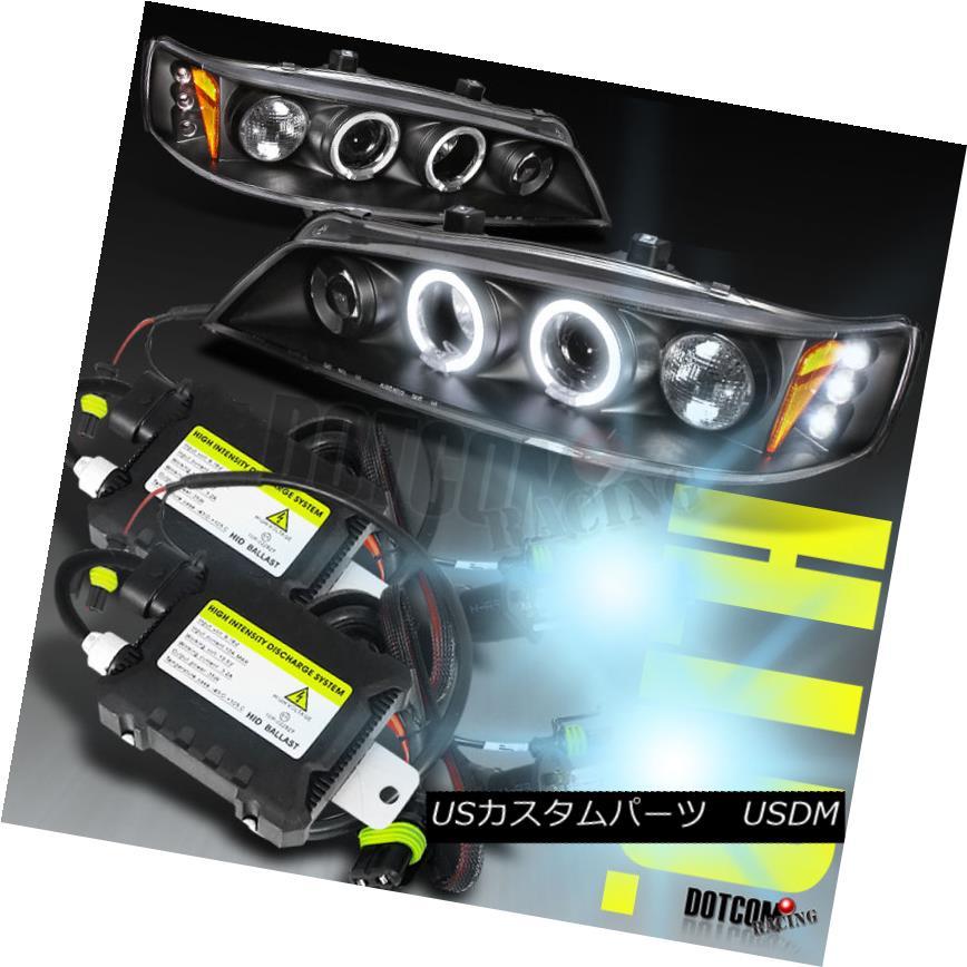 ヘッドライト For 1994-1997 Honda Accord LED Halo Black Projector Headlights+H1 6000K HID Kit 1994-1997ホンダアコードLEDハローブラックプロジェクターヘッドライト+ H1 6000K HIDキット