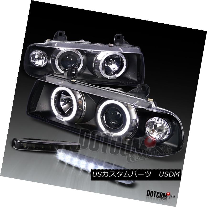 ヘッドライト 92-98 BMW E36 2Dr 4Dr Dual Halo Black Projector Headlight+LED Fog Lamp 92-98 BMW E36 2Dr 4Drデュアルハローブラックプロジェクターヘッドライト+ LEDフォグランプ