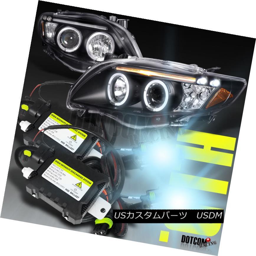 ヘッドライト 2009-2010 Toyota Corolla LED Halo Black Projector Headlights+H1 6000K HID Kit 2009-2010トヨタカローラLEDハローブラックプロジェクターヘッドライト+ H1 6000K HIDキット