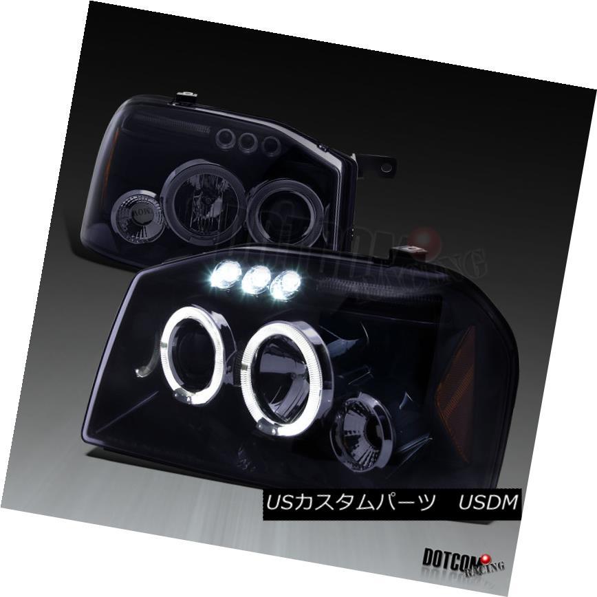 ヘッドライト Fit 2001-2004 Frontier Glossy Black Smoke Dual Halo Projector LED Headlights フィット2001-2004フロンティア光沢ブラックスモークデュアルヘイロープロジェクターLEDヘッドライト