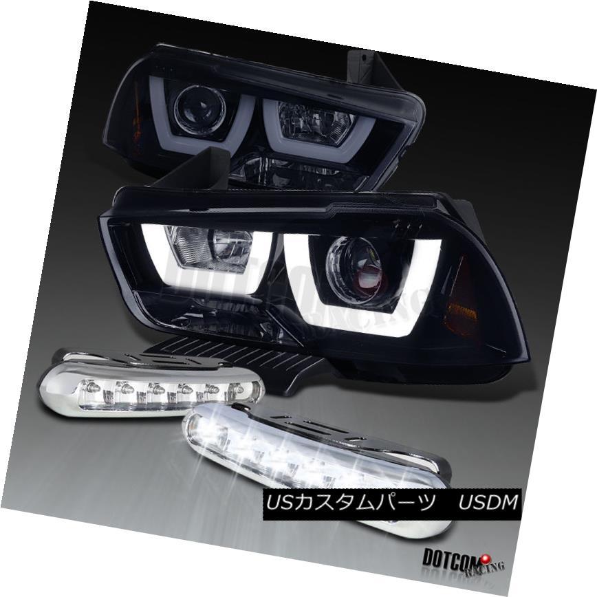 ヘッドライト 2011-2014 Charger Glossy Black Halo LED Projector Headlights+LED DRL Fog Lamps 2011-2014充電器光沢ブラックハローLEDプロジェクターヘッドライト+ LED DRLフォグランプ