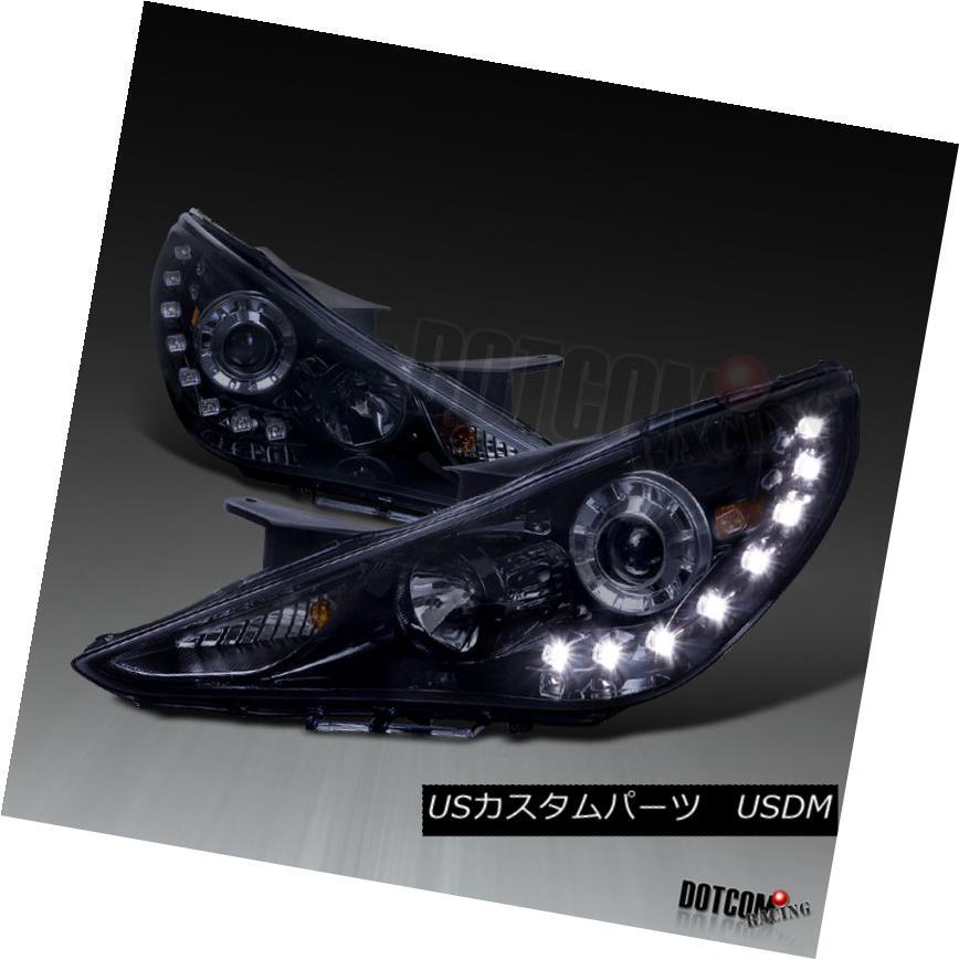 ヘッドライト Glossy Piano Black For 2011-2014 Sonata Smoke Projector Headlights+SMD LED DRL 2011年?2014年の光沢のあるピアノブラックソナタ煙プロジェクターヘッドライト+ SMD LED DRL
