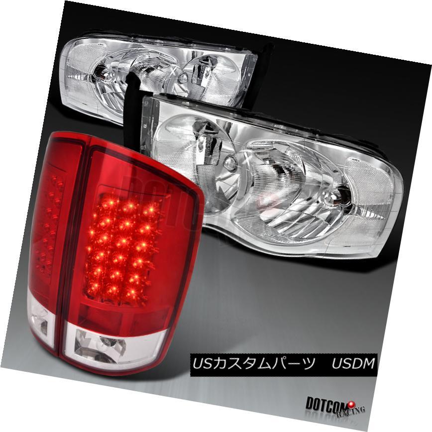 ヘッドライト 02-05 RAM 1500 2500 3500 Replacement Chrome Headlights+Red LED Tail Brake Lamps 02-05 RAM 1500 2500 3500交換用クロームヘッドライト+レッドLEDテールブレーキランプ