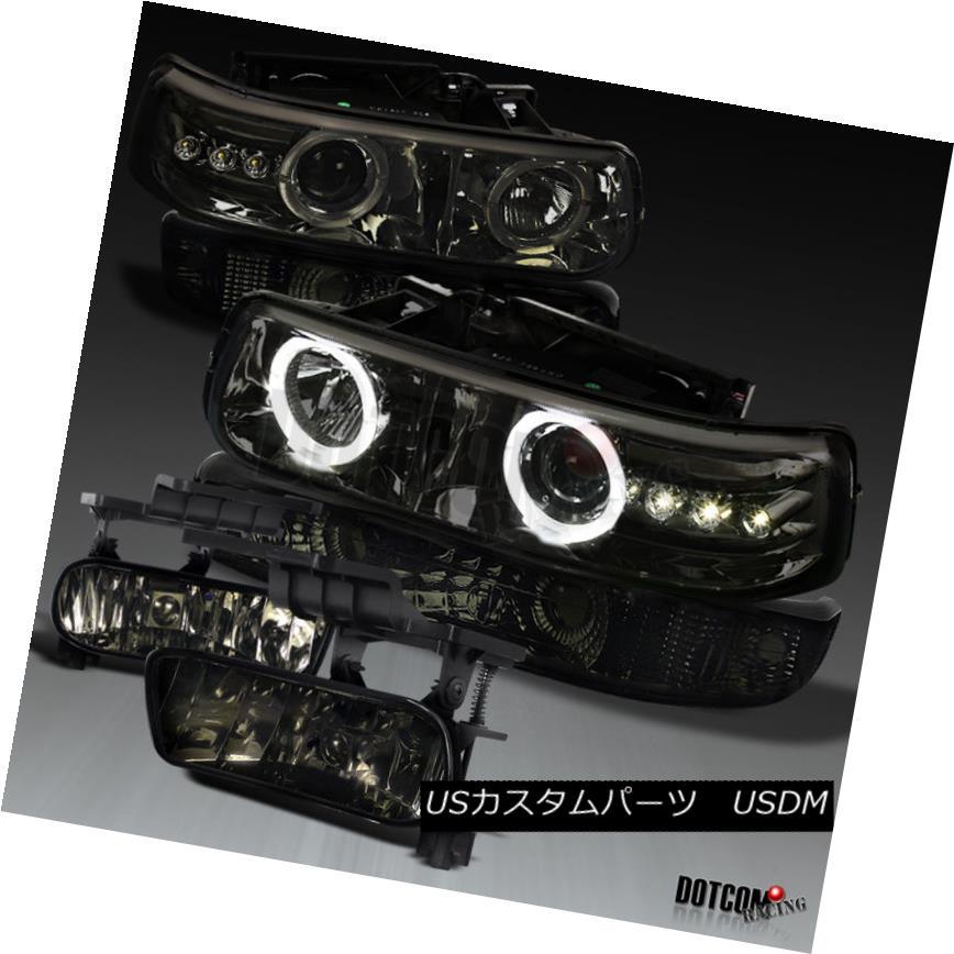 ヘッドライト 99-02 Silverado Smoke LED Dual Projector Headlights+Smoke Bumper Lamps+Fog Light 99-02 SilveradoスモークLEDデュアルプロジェクターヘッドライト+ Smo  keバンパーランプ+フォグライト