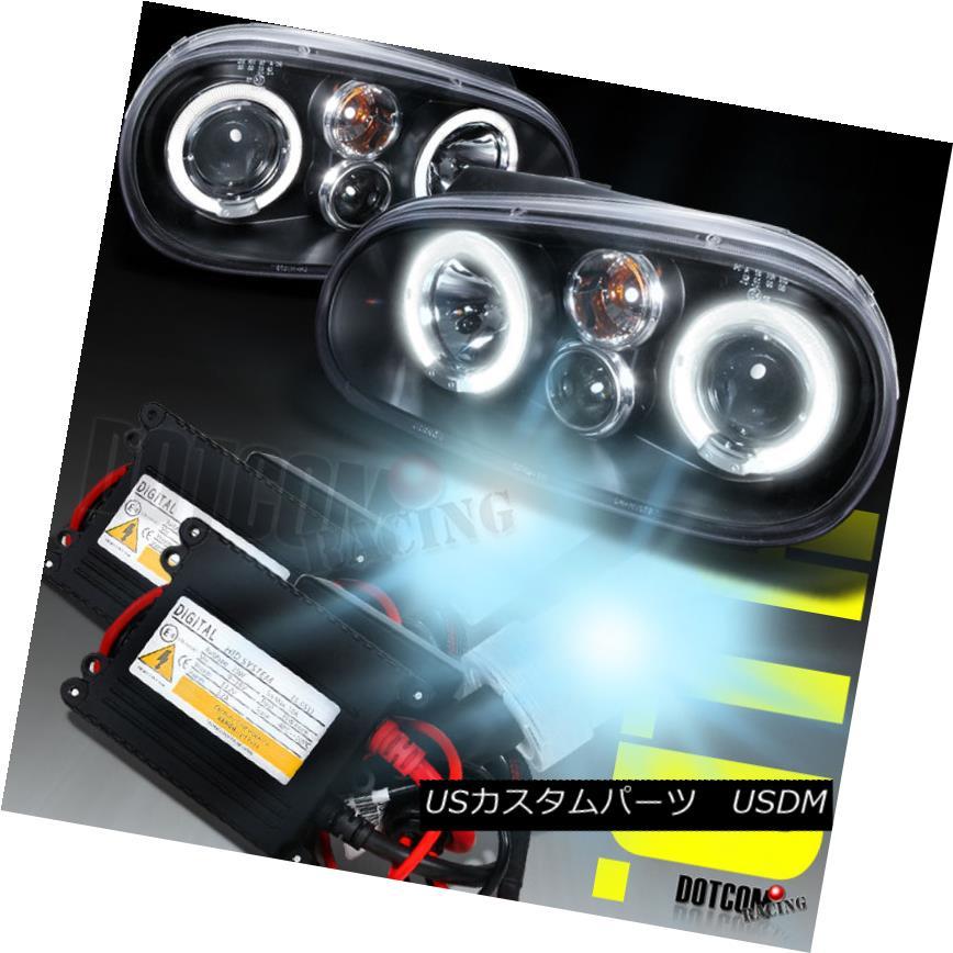 ヘッドライト Fit 1999-2005 VW Golf Halo Black Projector Headlights Lamps+H1 6000K HID Kit フィット1999?2005 VWゴルフハローブラックプロジェクターヘッドライトランプ+ H1 6000K HIDキット