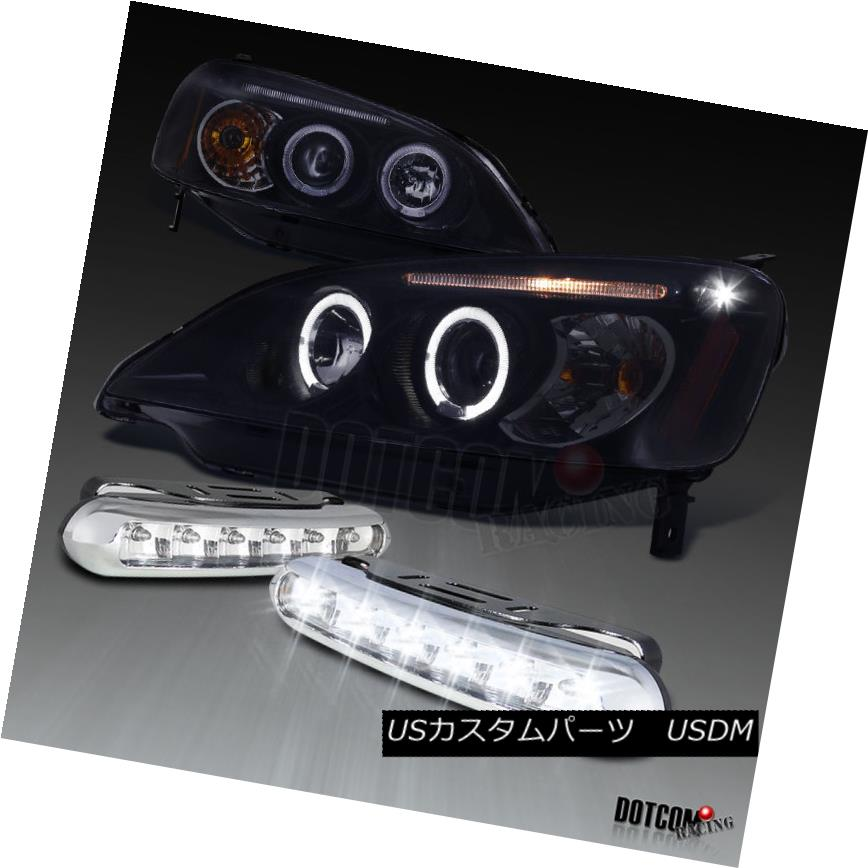 ヘッドライト Glossy Black For 2001-2003 Civic Projector Headlights+LED DRL Bumper Fog Lamps 光沢ブラック2001-2003シビックプロジェクターヘッドライト+ LED DRLバンパーフォグランプ