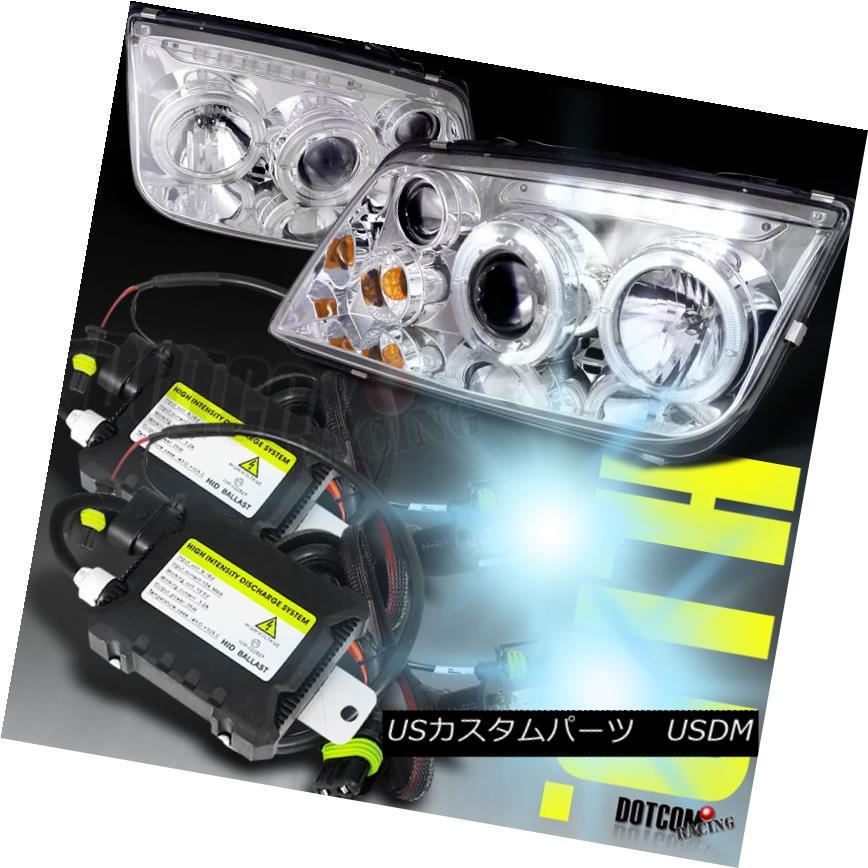 ヘッドライト Fit 99-04 Jetta Bora Dual Halo LED Projector Headlights+H1 6000K HID Bulbs Kit フィット99-04ジェッタボラデュアルヘイローLEDプロジェクターヘッドライト+ H1 6000K HID電球キット