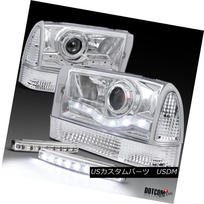ヘッドライト Chrome 99-04 F250 Super Duty Projector Headlight+Corner Lamp+8-LED DRL Fog Lamp Chrome 99-04 F250スーパーデューティプロジェクターヘッドライト+トウモロコシ ランプ+ 8-LED DRLフォグランプ