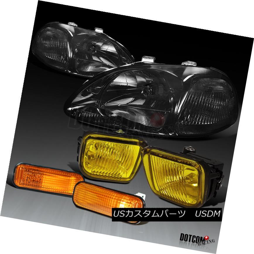 ヘッドライト Fit 1996-1998 Civic Smoke Headlights+Yellow Bumper Fog Lamps+Amber Side Markers フィット1996-1998シビックスモークヘッドライト+イエロー 低バンパーフォグランプ+アンバーサイドマーカー