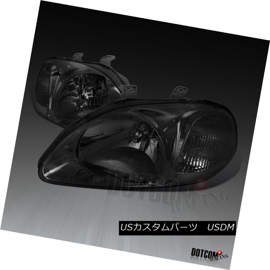 ヘッドライト Fit 1996-1998 Honda Civic EG JDM Smoked Headlights Driving Head Lamps Left+Right フィット1996-1998 Honda Civic EG JDMスモークヘッドライトヘッドランプを左右に駆動する左右