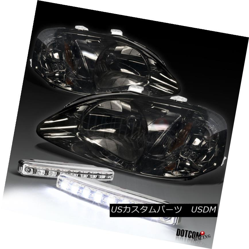 ヘッドライト 1999-2000 Honda Civic Smoke Tint Lens Headlight+LED Front Bumper Fog Light 1999-2000ホンダシビックスモークティントレンズヘッドライト+ LEDフロントバンパーフォグライト