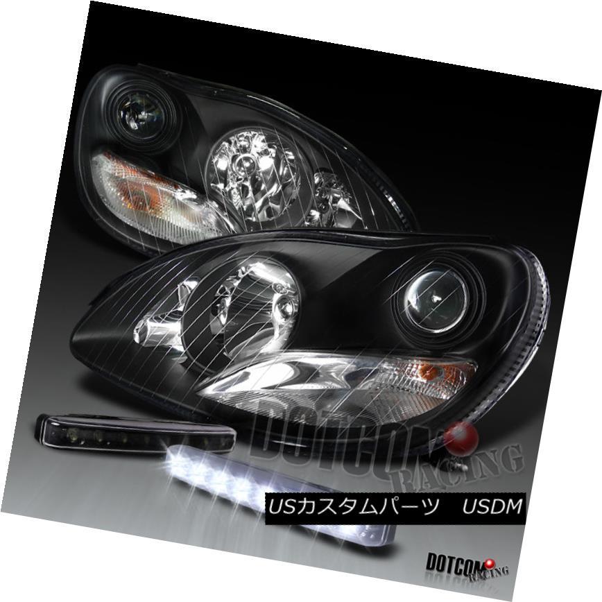 ヘッドライト 00-05 Benz W220 S55 AMG S430 Black Projector Headlights+LED DRL Front Fog Lamp 00-05ベンツW220 S55 AMG S430黒プロジェクターヘッドライト+ LED DRLフロントフォグランプ