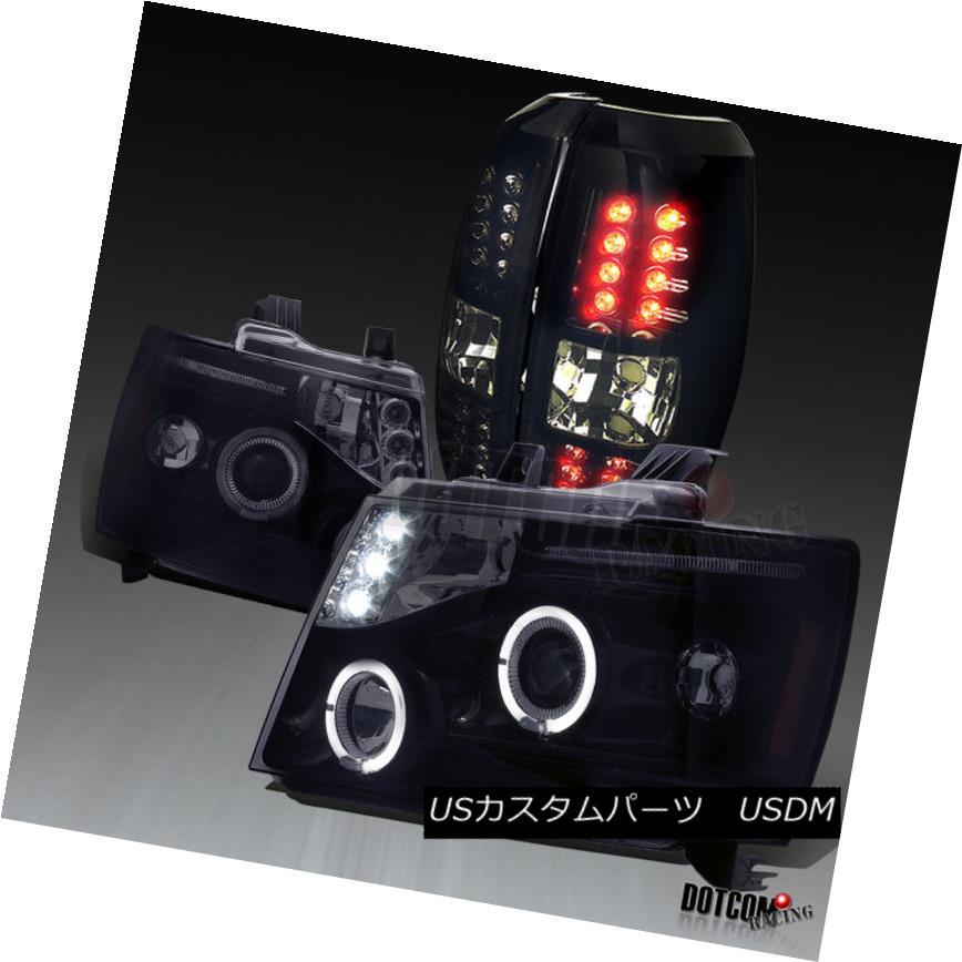 ヘッドライト Glossy Black 2007-2012 Avalanche Halo Projector Headlights+LED Tail Lamps Smoke 光沢ブラック2007-2012アバランシェヘイロープロジェクターヘッドライト+ LEDテールランプ煙