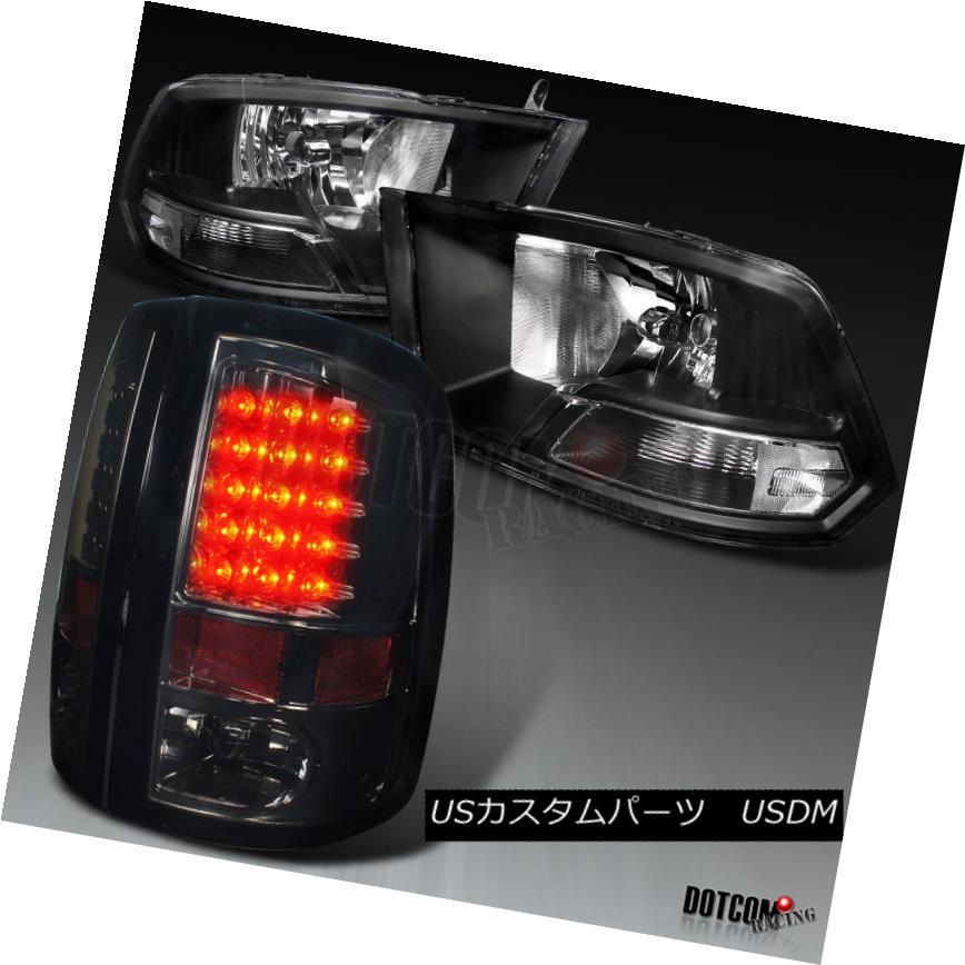 ヘッドライト 2009-2017 Dodge RAM 1500 2500 3500 Black Headlights+Smoke LED Tail Brake Lamps 2009-2017 Dodge RAM 1500 2500 3500ブラックヘッドライト+スモーク ke LEDテールブレーキランプ