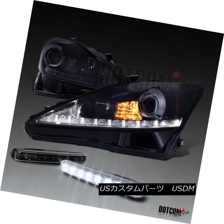 ヘッドライト Glossy Black 2006-2009 IS250 IS350 SMD LED Projector Headlights+8-LED Fog DRL 光沢ブラック2006-2009 IS250 IS350 SMD LEDプロジェクターヘッドライト+ 8-L  ED Fog DRL