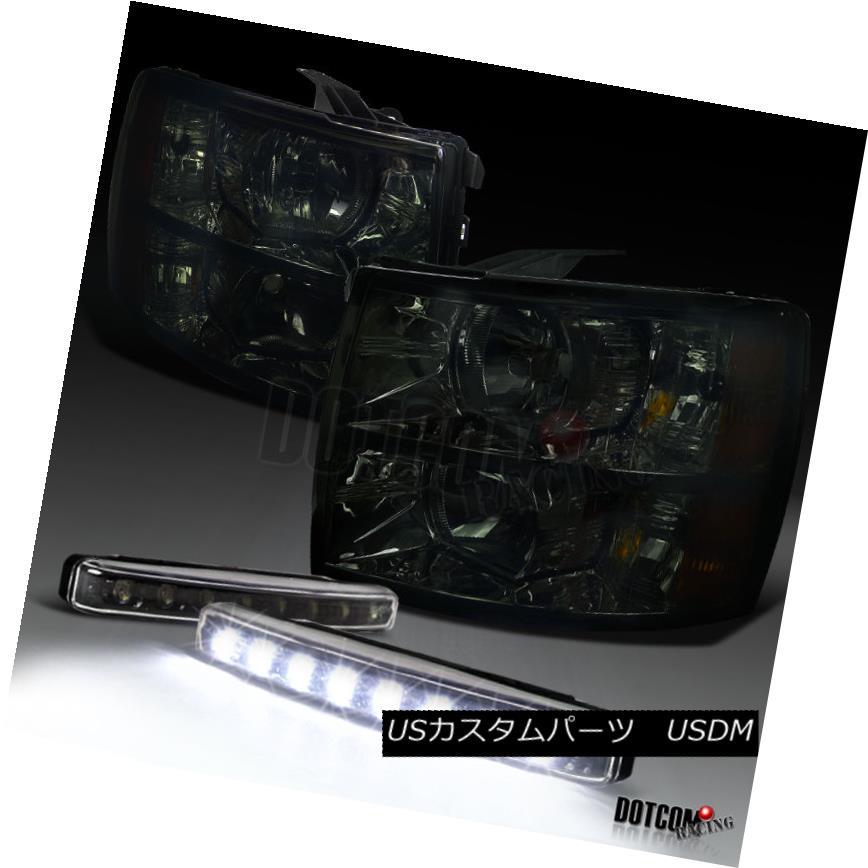 ヘッドライト 07-14 Chevy Silverado 1500 2500 3500 Crystal Smoke Headlights W/ LED Fog Lamps 07-14 Chevy Silverado 1500 2500 3500クリスタルスモークヘッドライト(LEDフォグランプ)
