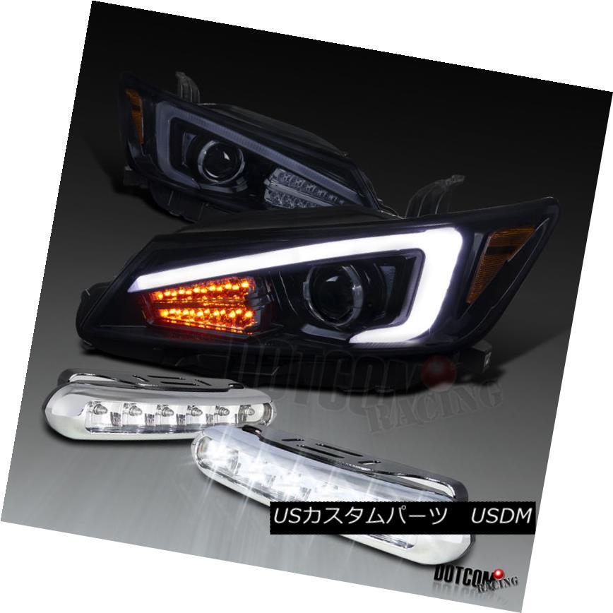 ヘッドライト 2011-2013 Scion tC Glossy Black LED Signal Projector Headlights+LED Fog Lamps 2011-2013シオンtC光沢ブラックLEDシグナルプロジェクターヘッドライト+ LEDフォグランプ