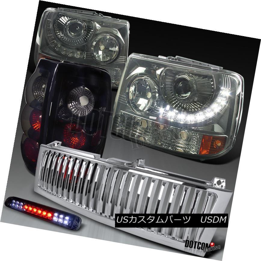 ヘッドライト 99-02 Silverado SMD LED Projector Headlights+Glossy Black Tail 3Rd Brake+Grille 99-02 Silverado SMD LEDプロジェクターヘッドライト+グロー ssyブラックテール3Rdブレーキ+グリル