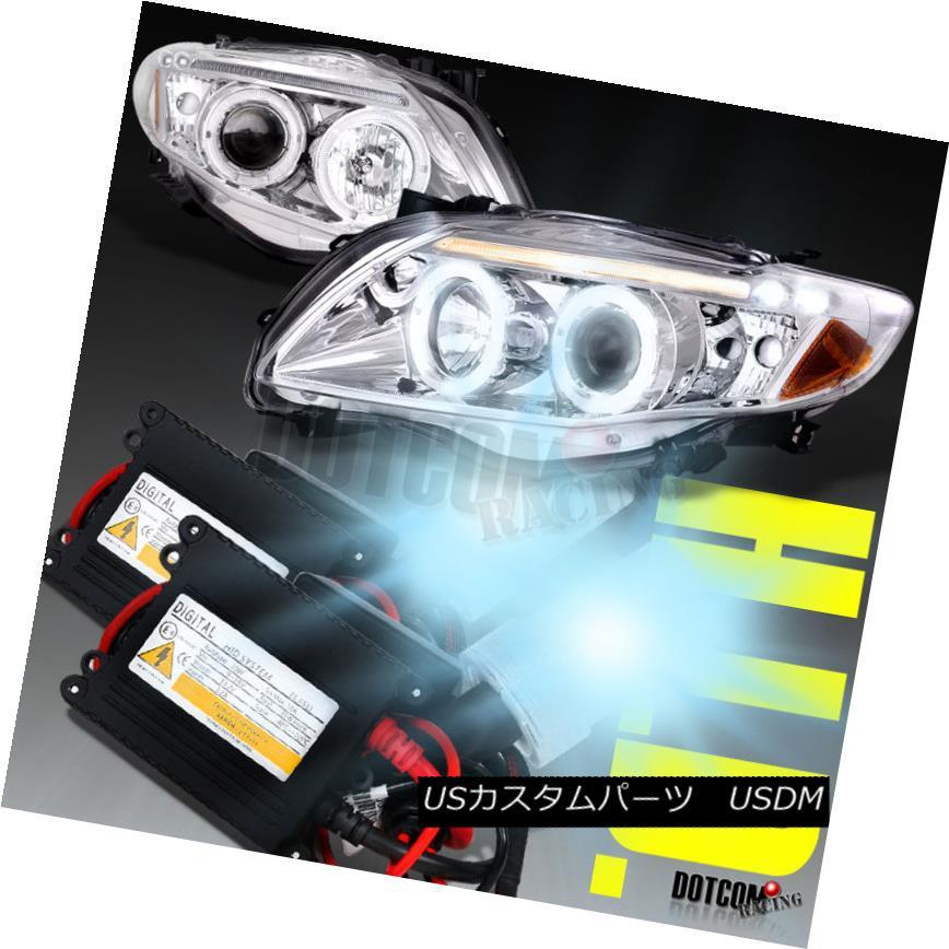 ヘッドライト 2009-2010 Toyota Corolla LED Halo Chrome Projector Headlights+H1 6000K HID Kit 2009-2010トヨタカローラLEDハロークロームプロジェクターヘッドライト+ H1 6000K HIDキット