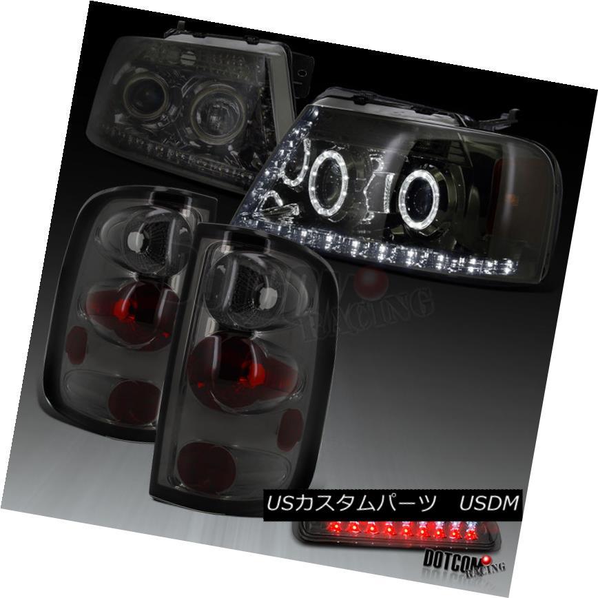 ヘッドライト 2004-2008 F150 Smoke LED Halo Projector Headlights+Tail Lamps+LED 3rd Brake Lamp 2004-2008 F150スモークLEDハロープロジェクターヘッドライト+タイ lランプ+ LED第3ブレーキランプ