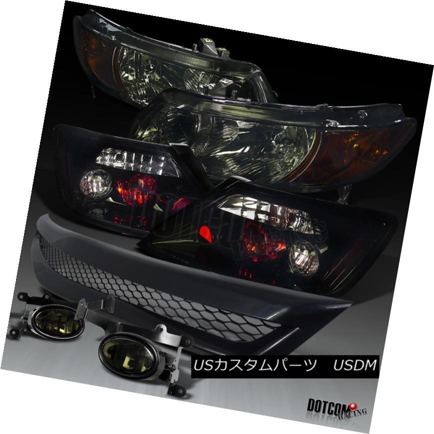 ヘッドライト 06-08 Civic 2Dr Glossy Black Tail Lamp+Smoke Headlight Fog Light+Mesh Grille 06-08 Civic 2Dr Glossyブラックテールランプ+スモークヘッドライトフォグライト+メッシュグリル