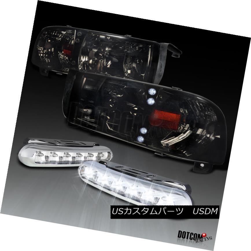 ヘッドライト 94-01 Dodge RAM Pickup LED Smoke Headlights Corner+6-LED DRL Bumper Fog Lamps 94-01ダッジRAMピックアップLEDスモークヘッドライトコーナー+ 6-LED DRLバンパーフォグランプ