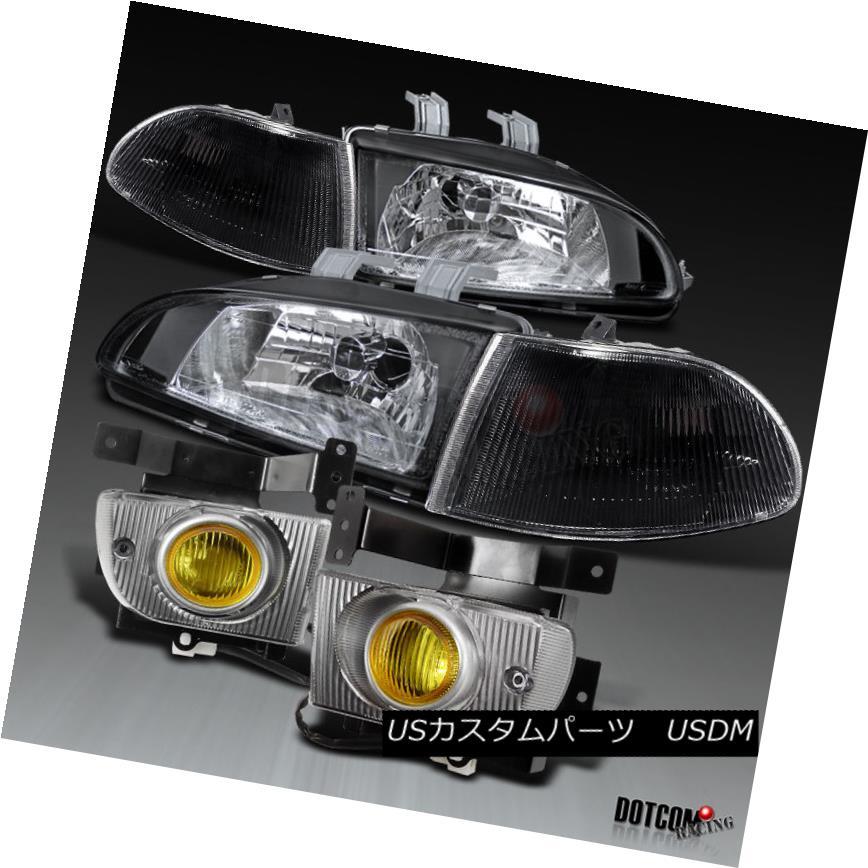 ヘッドライト 92-95 Civic 4Dr Sedan Crystal Black Headlights+Corner Lamp+Amber Fog Lights 92-95シビック4Drセダンクリスタルブラックヘッドライト+オレンジランプ+アンバーフォグライト