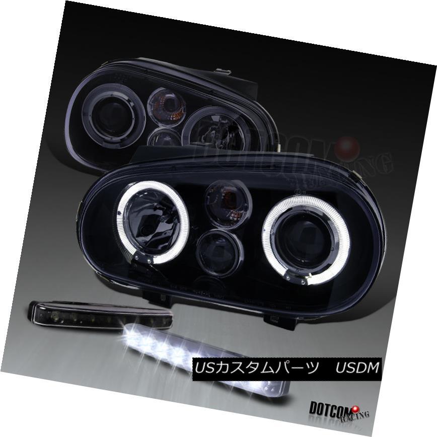 ヘッドライト Glossy Black For 1999-2006 Golf Projector Headlights+8-LED Bumper Fog Lamps Pair 1999-2006年ゴルフ用プロジェクターヘッドライト+ 8-L  EDバンパーフォグランプペア用グロスブラック