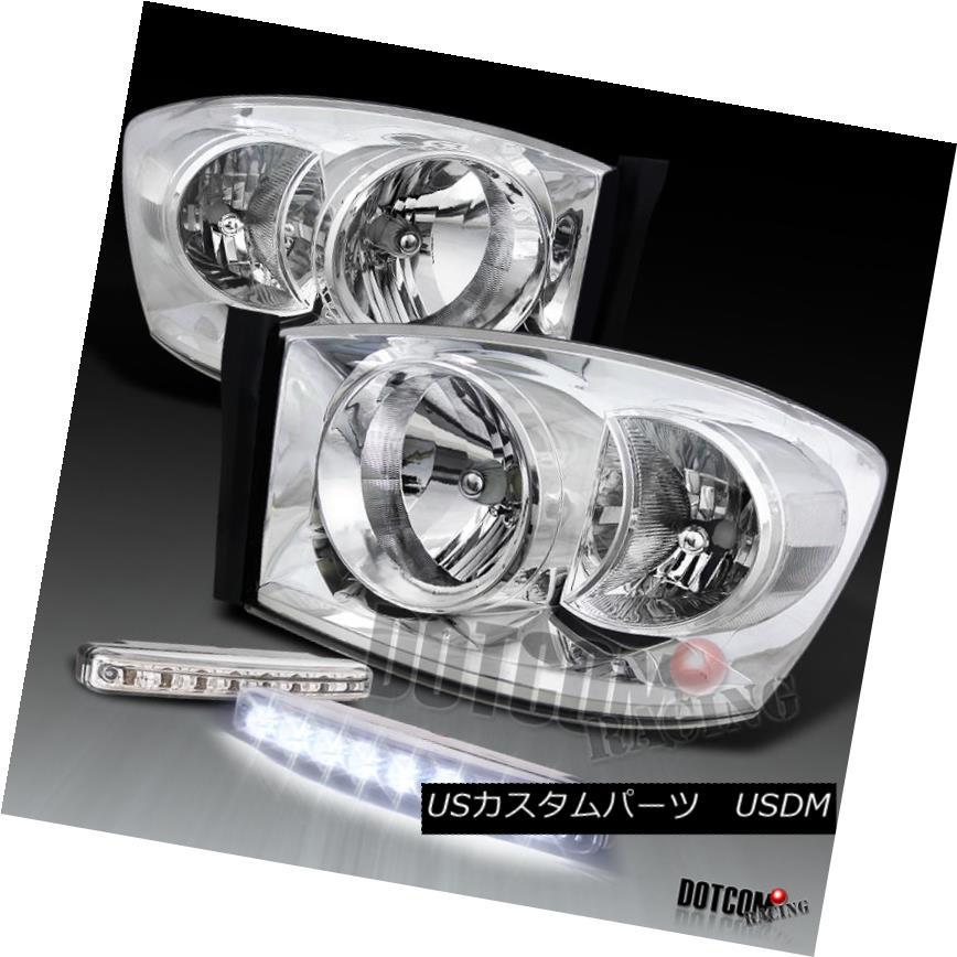 ヘッドライト Dodge 06-08 RAM 1500 2500 3500 Chrome Clear Headlight+Front Bumper Fog Lamp DRL ドッジ06-08 RAM 1500 2500 3500クロームクリアヘッドライト+ from  tバンパーフォグランプDRL