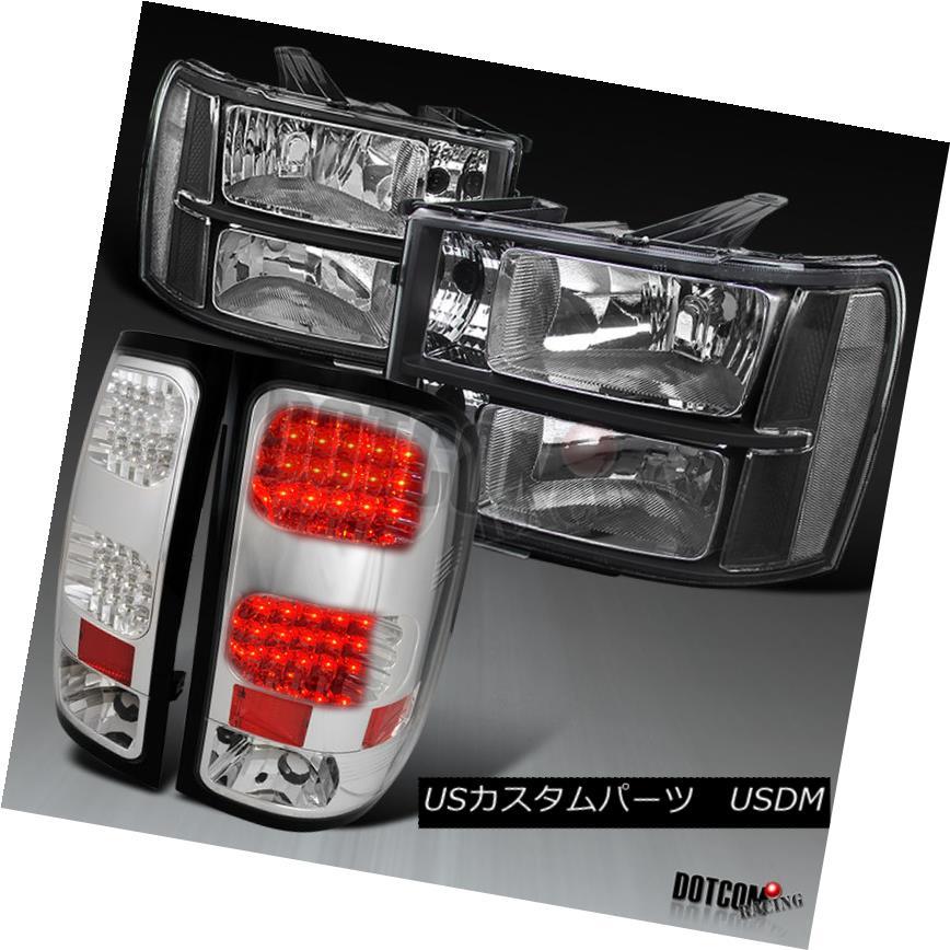 ヘッドライト 07-13 GMC Sierra 1500 Euro Black Diamond Headlights+Chrome Clear LED Tail Lamps 07-13 GMC Sierra 1500ユーロブラックダイヤモンドヘッドライト+ Chr  ome Clear LEDテールランプ