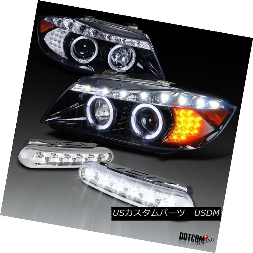 ヘッドライト Piano Black 06-08 E90 Halo Projector Headlight+LED Amber Turn Signal+Bumper Fog ピアノブラック06-08 E90ハロープロジェクターヘッドライト+ LEDアンバーターンシグナル+バンパーフォグ