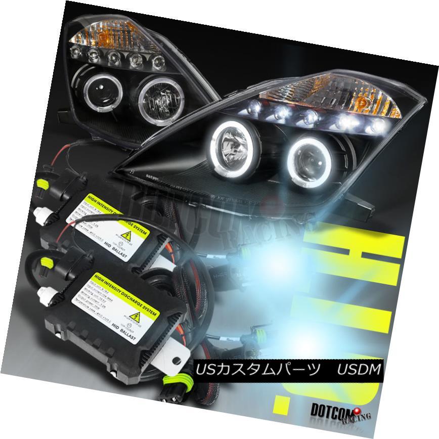 ヘッドライト For 03-05 350Z LED Dual Halo Black Projector Headlights+H1 6000K Slim Xenon Kit 03-05 350Z LEDデュアルハローブラックプロジェクターヘッドライト+ H1 6000Kスリムキセノンキット