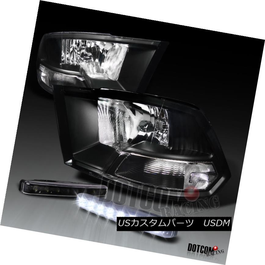 ヘッドライト JDM Black 09-17 RAM 1500 2500 3500 Headlight W/ 8-LED Bumper DRL Fog Light JDMブラック09-17 RAM 1500 2500 3500ヘッドライトW / 8 LEDバンパーDRLフォグライト