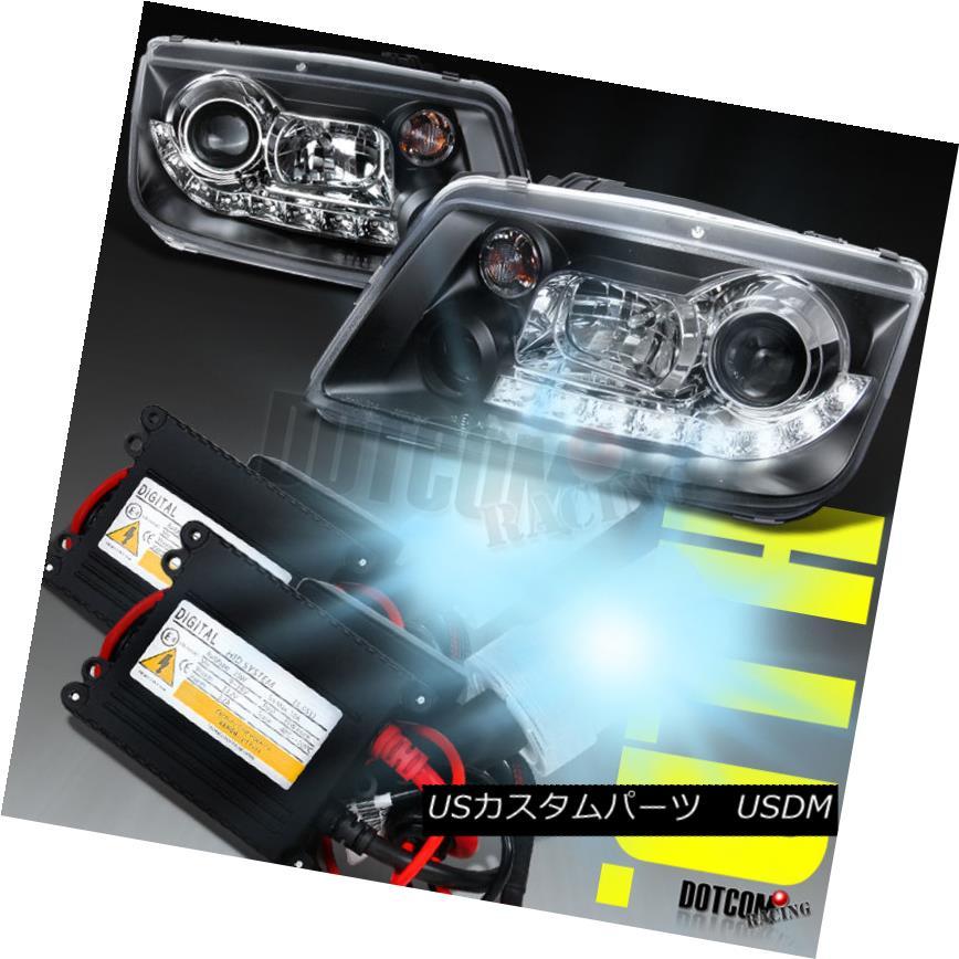 ヘッドライト For 1999-2004 VW Jetta R8 LED Black Projector Headlights Lamps+H1 6000K HID Kit 1999-2004 VWジェッタR8 LEDブラックプロジェクターヘッドライトランプ+ H1 6000K HIDキット