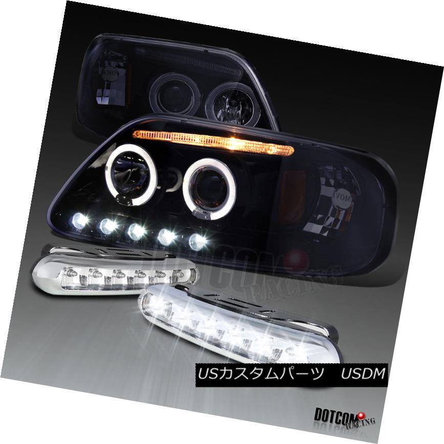 ヘッドライト Glossy Black 1997-2003 F150 Halo Projector Headlights+LED DRL Driving Fog Lamps 光沢ブラック1997-2003 F150ハロープロジェクターヘッドライト+ LED DRLドライビングフォグランプ