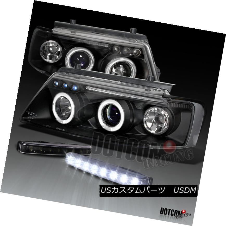 ヘッドライト Fit 1997-2000 Passat Black Halo Projector Headlights+8-LED Bumper Fog DRL Lamps 1997-2000 Passat Black Haloプロジェクターヘッドライト+ 8-L  EDバンパーフォグDRLランプ