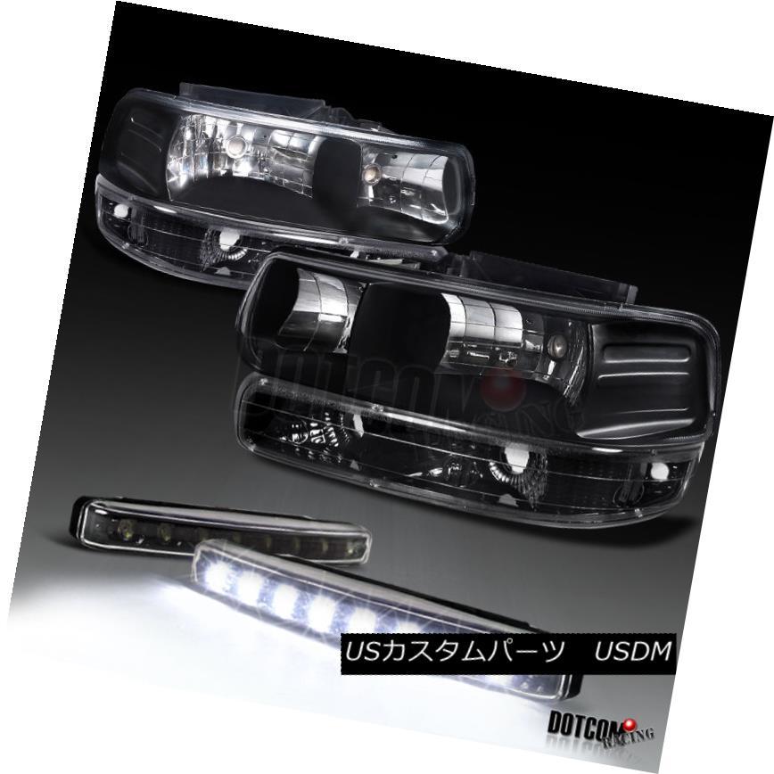ヘッドライト Chevy Silverado Suburban Black Headlights+Bumper Lamps+8-LED Fog Lamp DRL シボレーシルバラード郊外のブラックヘッドライト+バーン 1ランプ+ 8-LEDフォグランプDRL