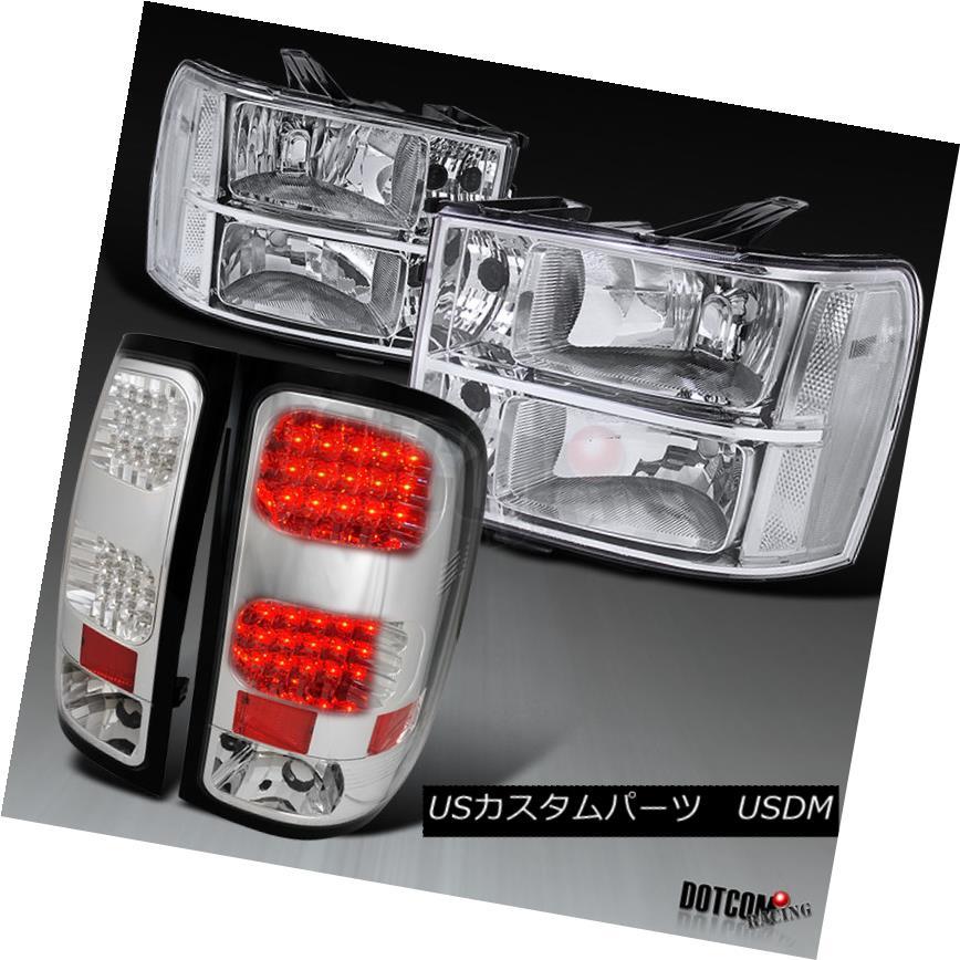 ヘッドライト 07-13 GMC Sierra 1500 2500HD 3500HD Chrome Headlights+Clear LED Tail Lamps 07-13 GMC Sierra 1500 2500HD 3500HDクロームヘッドライト+ Cle  ar LEDテールランプ